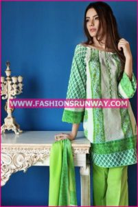 Gul Ahmed Midsummer 2016 PARROT GREEN EMBROIDERED CAMBRIC CBE-21 B