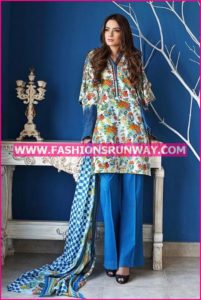 Gul Ahmed Midsummer 2016 BLUE EMBROIDERED CAMBRIC CBE-28 A