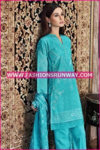 Gul Ahmed Midsummer 2016 TURQUOISE PREMIUM EMBROIDERED CHIFFON PM-184