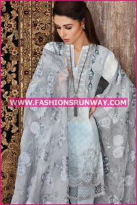 Gul Ahmed Midsummer 2016 GREY PREMIUM EMBROIDERED CHIFFON PM-183