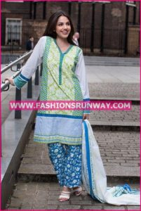 Gul Ahmed Midsummer 2016 GREEN PRINTED CAMBRIC CBN-03 A