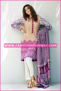 Gul Ahmed Midsummer 2016 PURPLE PRINTED CAMBRIC CBN-18 B